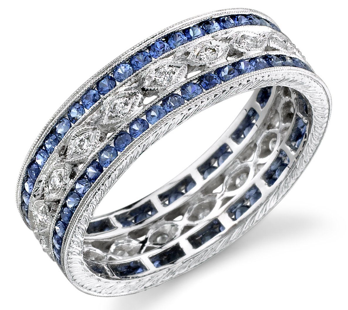 wide diamond sapphire band Love this for a push present because
