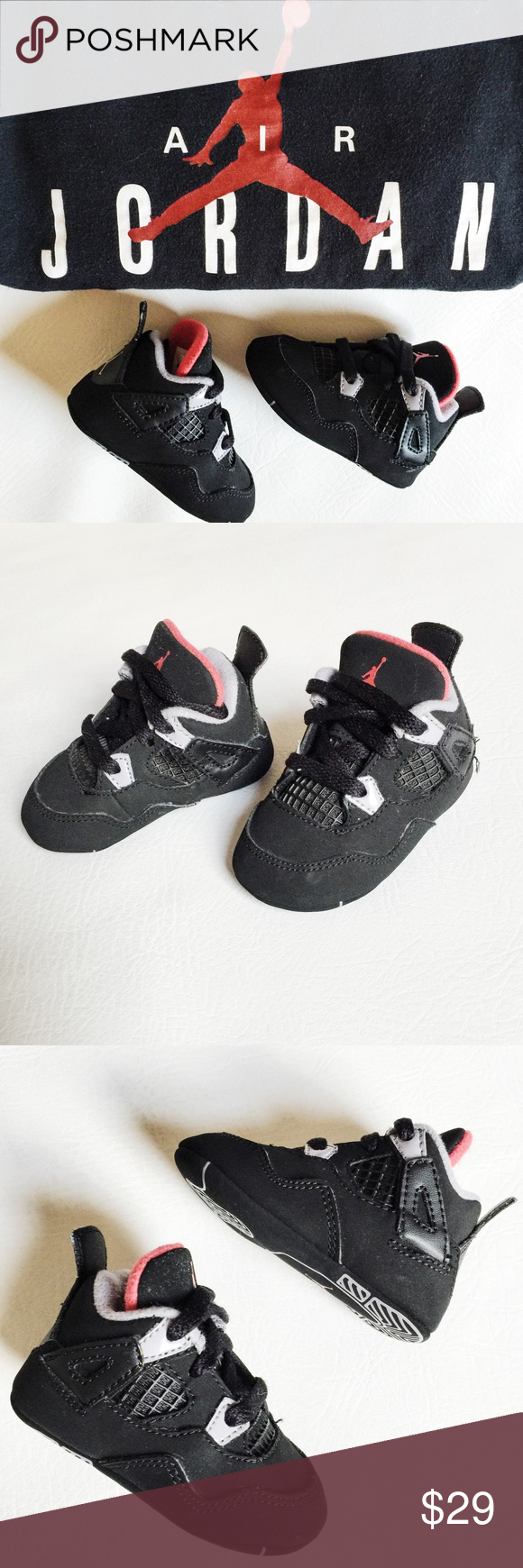 21a8b8657036f0 SALE ▫ Nike Air Jordan Retro 4 Infant Shoes Nike Air Jordan Retro 4 Infant  Shoes in black featuring soft sole. Pre-loved but in like new condition