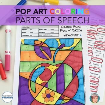 Parts Of Speech Coloring For All Year Fun Art Infused Spring Activity More Parts Of Speech Elementary Art Art With Jenny K