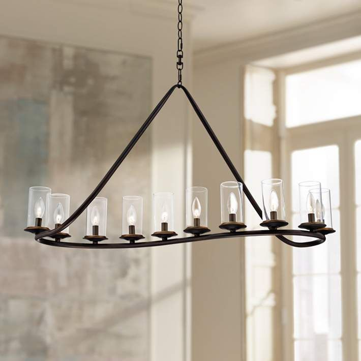 Heritage 44 Wide Bronze And Glass Chandelier W6827 Lamps Plus