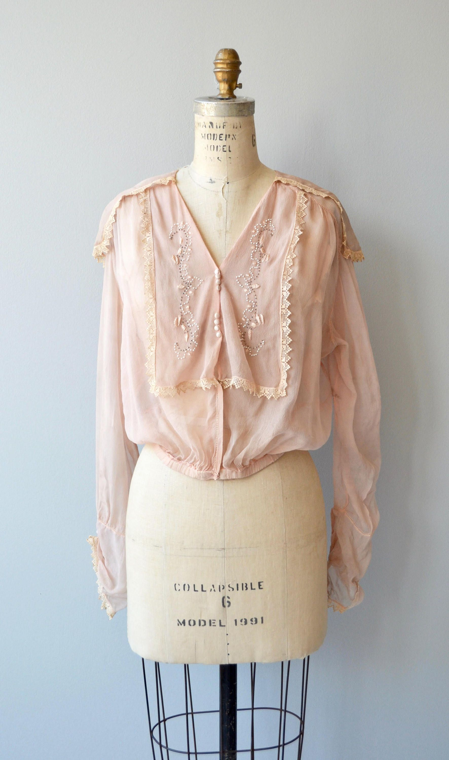 98fb026a880e6a Antique 1920s pale ballet pink silk blouse with embroidered and lace  trimmed middy collar