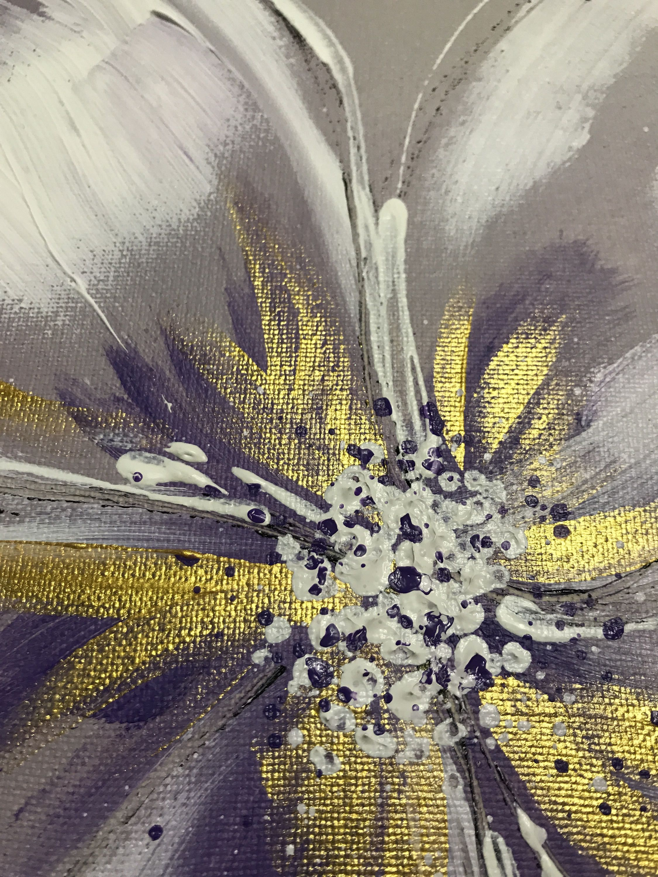 Flower gold painting abstract flower original painting i
