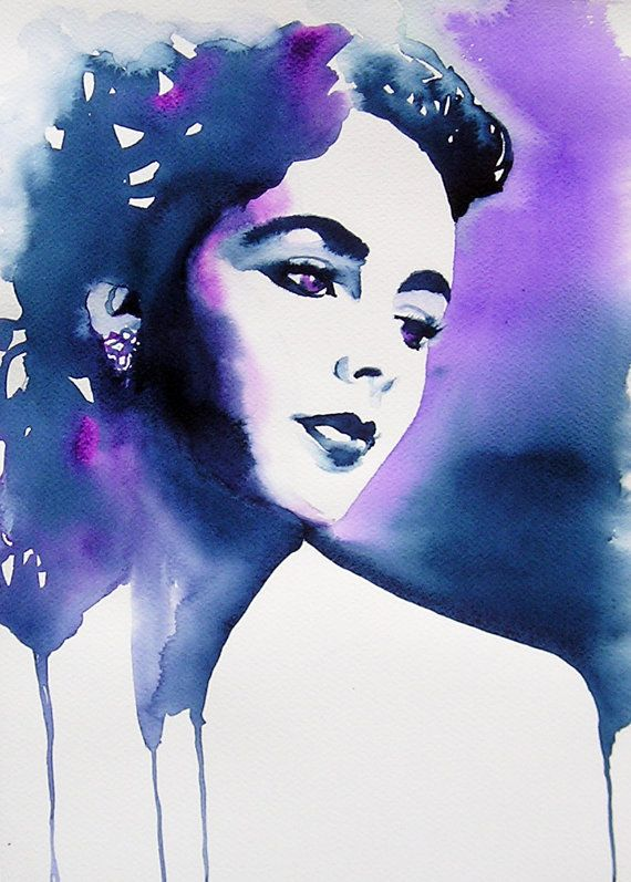 Old Hollywood Art Print Of Original Watercolor Fashion Glamour