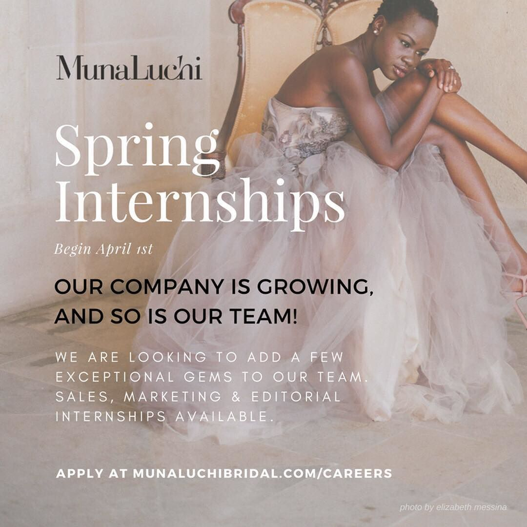 Our company is growing and so is our team! Now accepting Spring Internships. Visit the careers page on our website ( http://bit.ly/1VKxwpl ) to apply for an internship. Tag a friend!  _ #munacareers #munaluchi #munaluchibride #weddingjobs #weddingindustry  @elizabethmessina