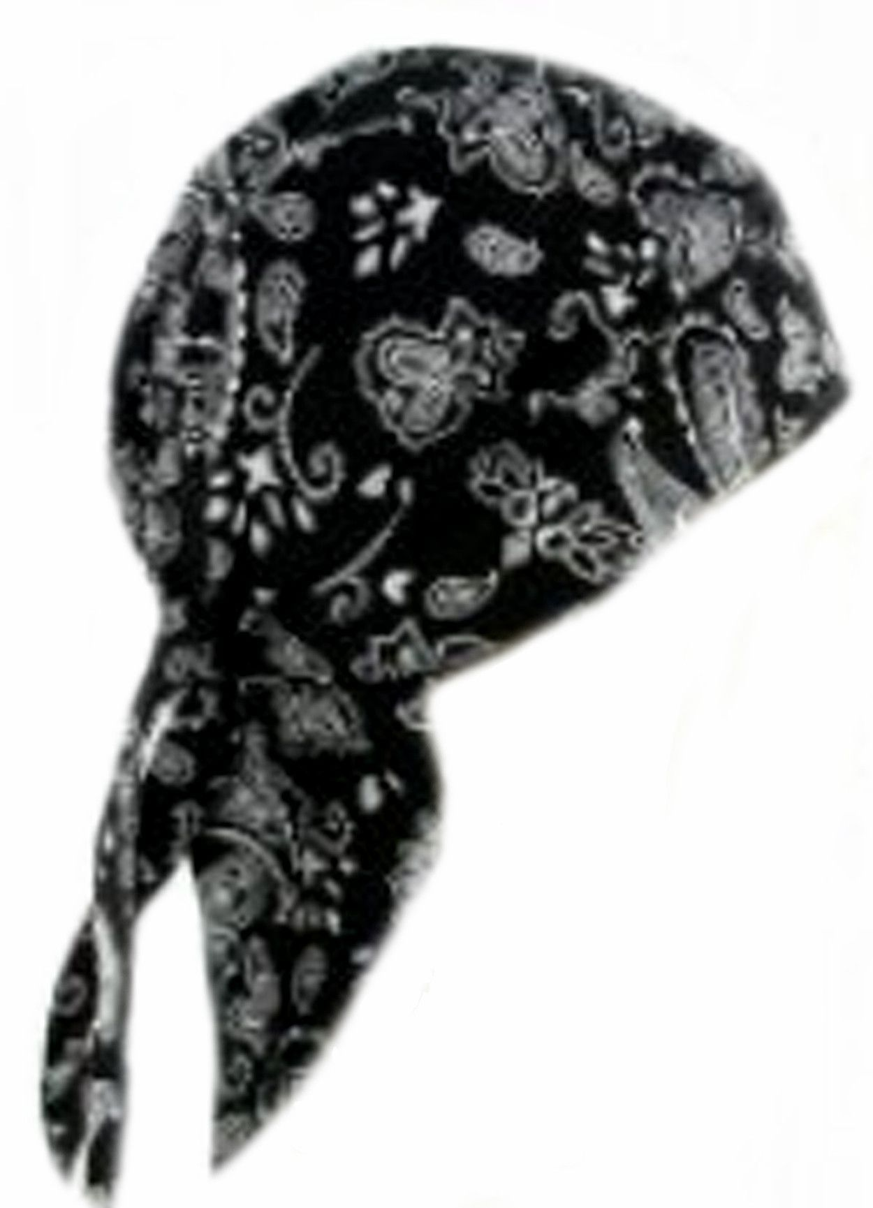 fee159d81a7 Black Paisley Headwrap Doo Rag with SWEAT BAND Durag Skull Cap Spandex  Sporty Motorcycle Hat