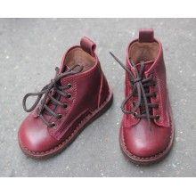 Chaussures montantes en cuir bordeaux [Pèpè]