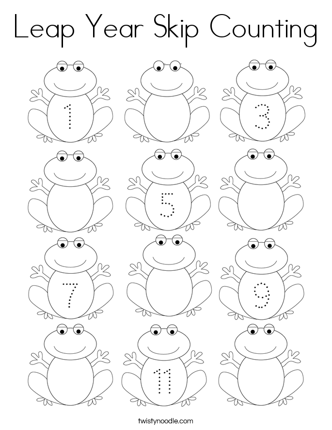 Leap Year Skip Counting Coloring Page - Twisty Noodle in ...