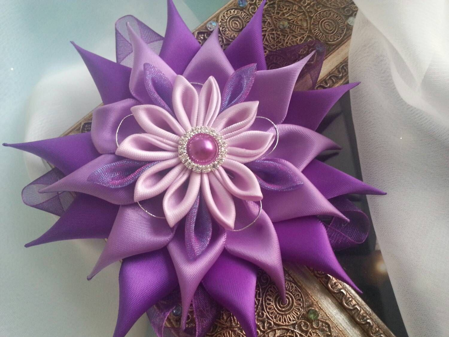Purple Satin Kanzashi Flower attached to an от RosesBowses на Etsy