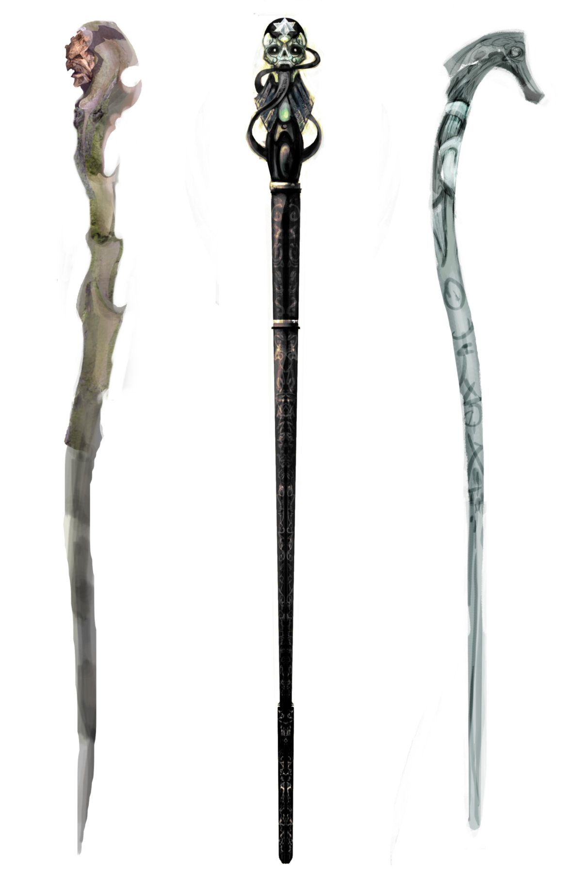 An illustration of three death eaters 39 wands bruno pinterest wand death and third - Coole wanddesigns ...