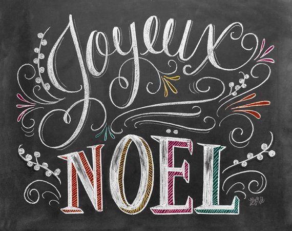 Joyeux Noel Card Chalkboard Christmas Card Hand by LilyandVal