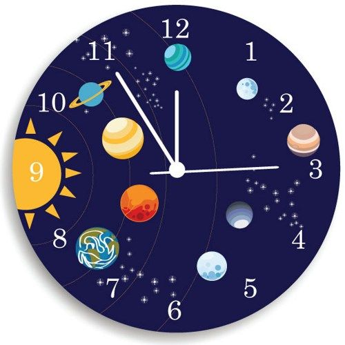 Solar System Wooden WALL CLOCK Kids Bedroom Nursery Wall ...