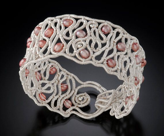 Fine Silver and Fresh Water Pearl Wire Woven Bracelet
