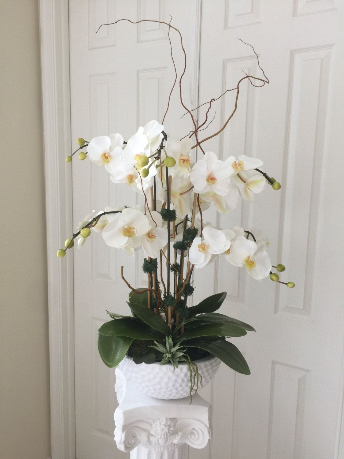Very large white orchid arrangement containing 7 orchid stems custom order for jeremy large white orchid arrangement realistic orchids set in white vase green moss and succulent accents w reviewsmspy