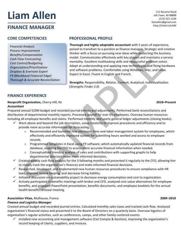 sample resume - finance manager