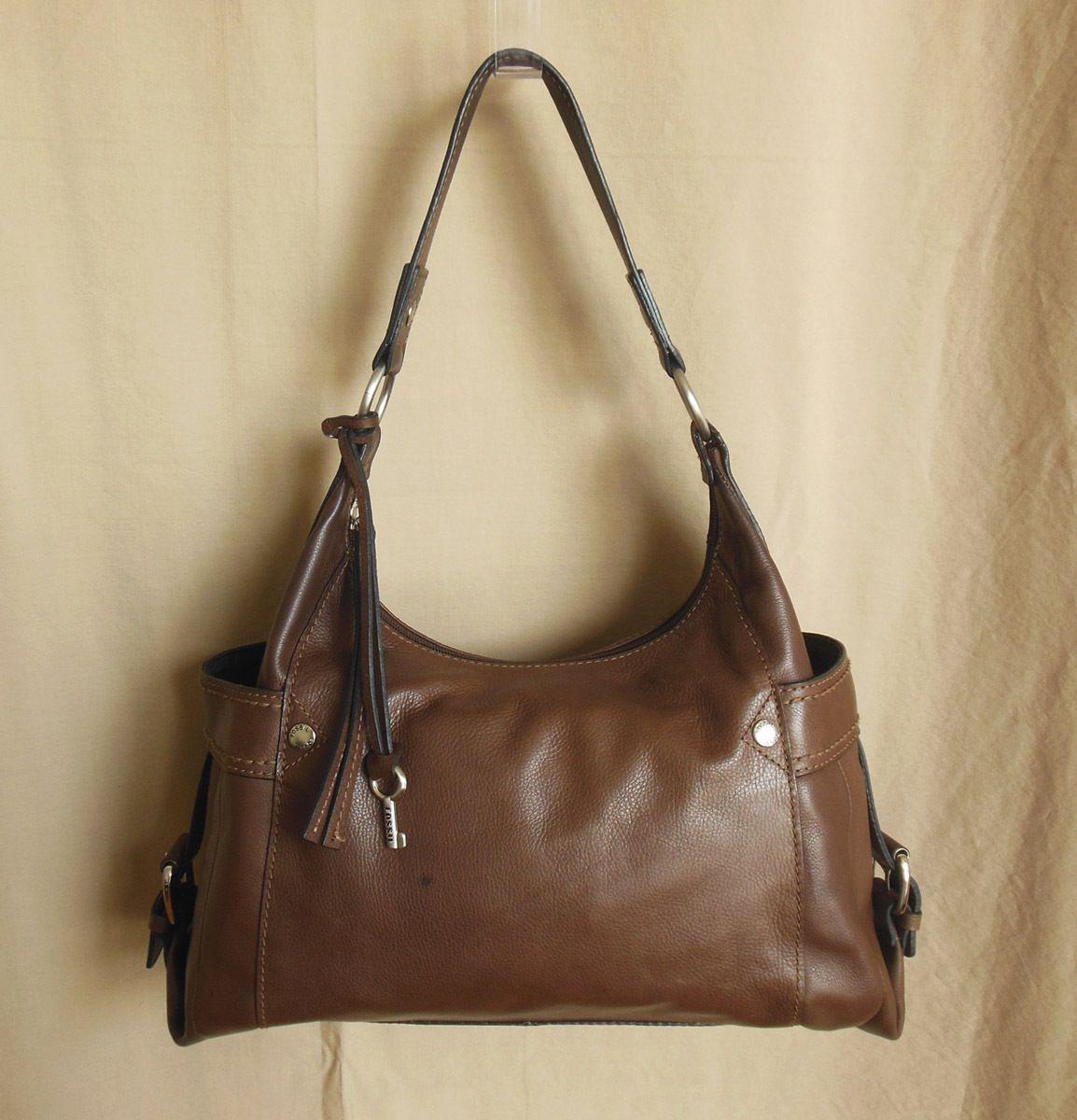 4c5010852a Fossil Key Purse Large Brown Soft PEBBLED Leather Zip Hobo Shoulder Bag  75082