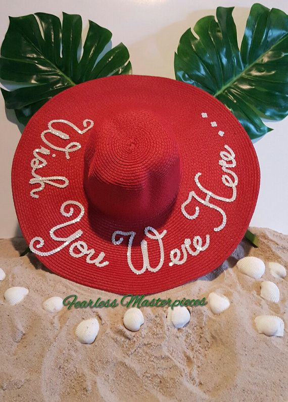 """Personalized Sequins """"Wish You Were Here"""" Floppy Sun Beach Hat"""