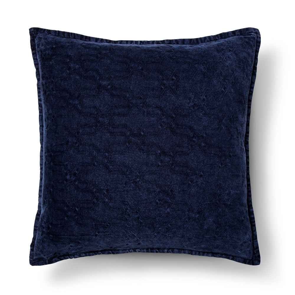 Throw Pillow Stonewashed Chenille Navy Oversized Blue