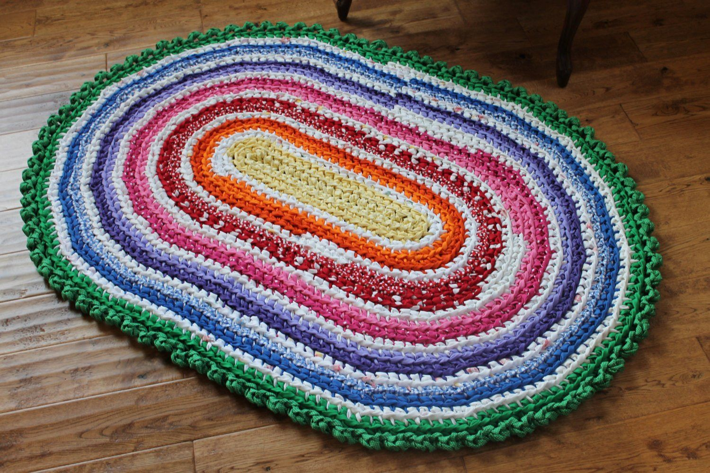 Crochet Oval Rug Elegant Rag Rug Rainbow 37 5 X 55 Crocheted Oval Rag Rug Of Charming 49 Images Crochet Oval Rug Rag Rug Crochet Rag Rug Shabby Chic Nursery