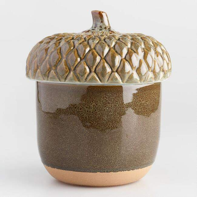 Rustic Cookie Jar Magnificent Green Reactive Glaze Acorn Cookie Jar Fits Well With My Rustic Cabin Inspiration Design