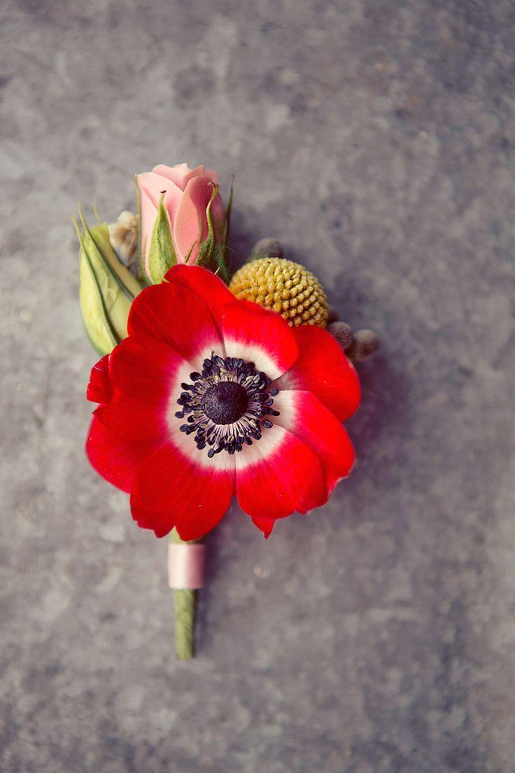 pretty red poppy boutonniere wedding groom groomsmen spring