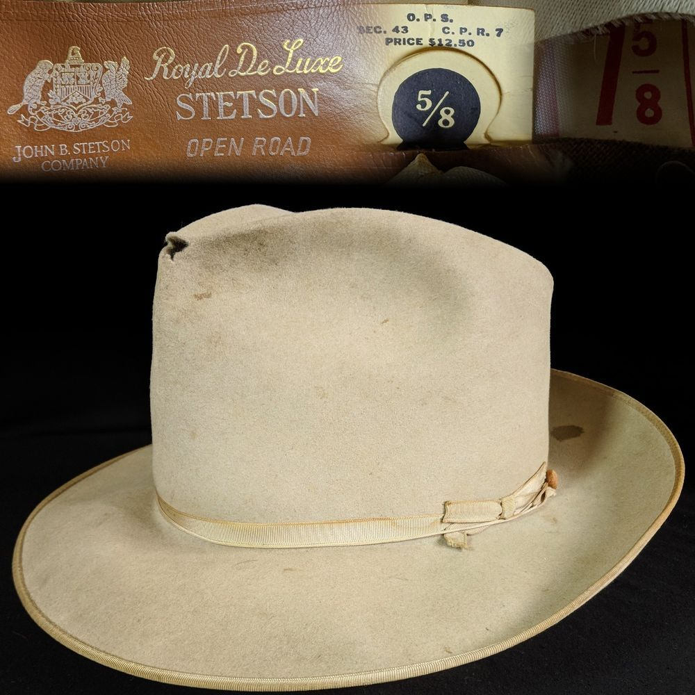 bb36742bac703 Vintage 1950s 7-5 8 Royal Deluxe Stetson Open Road Fedora men s hat   fashion  clothing  shoes  accessories  vintage  vintageaccessories (ebay  link)