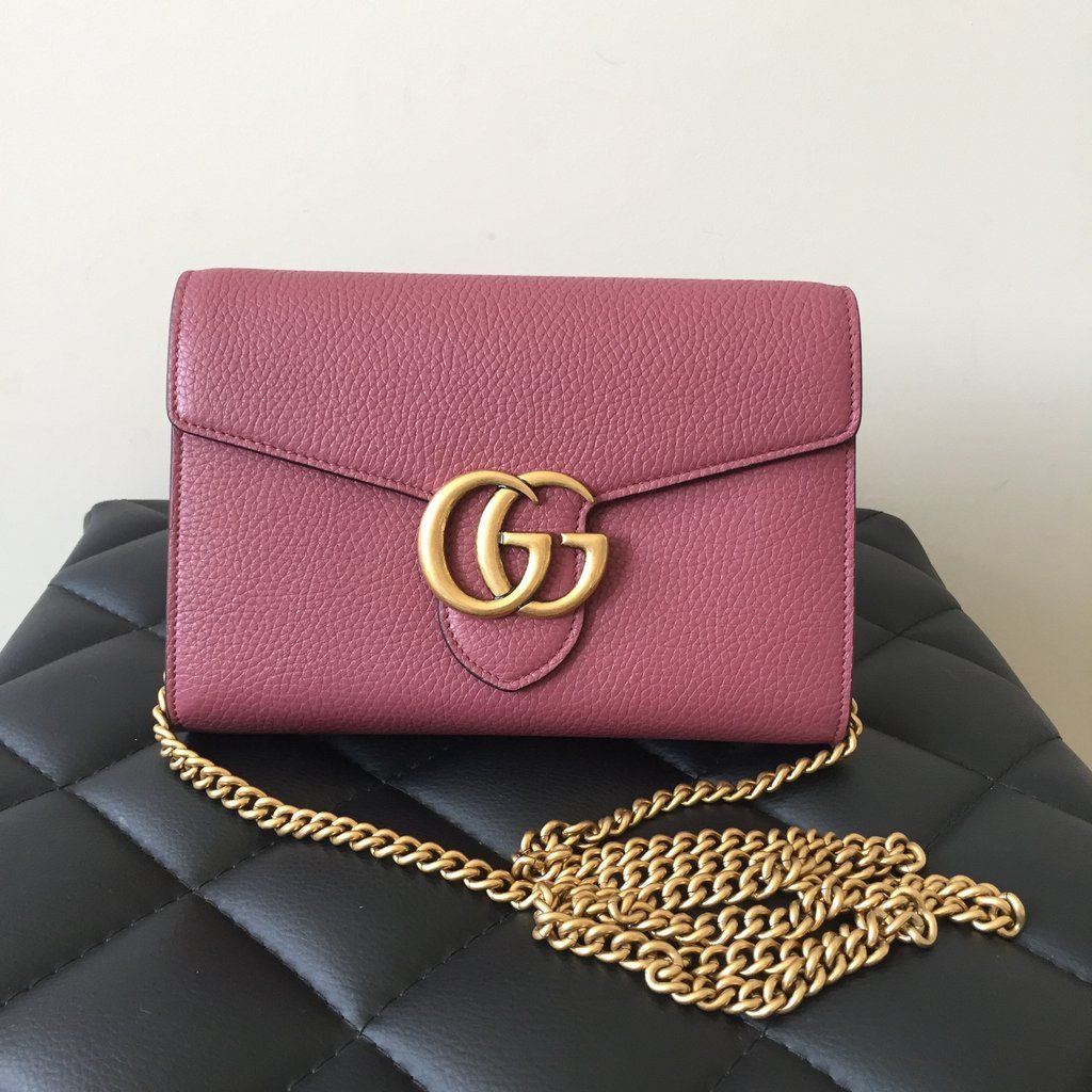 dec3963465f Gucci Marmont Mini Chain Antique Rose Leather Crossbody Wallet Clutch