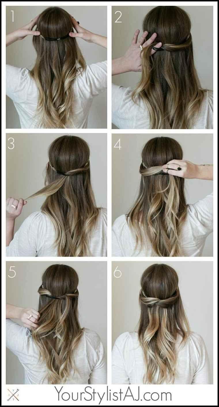 Einfache und elegante Frisur für lange Haare. Foto veröffentlicht