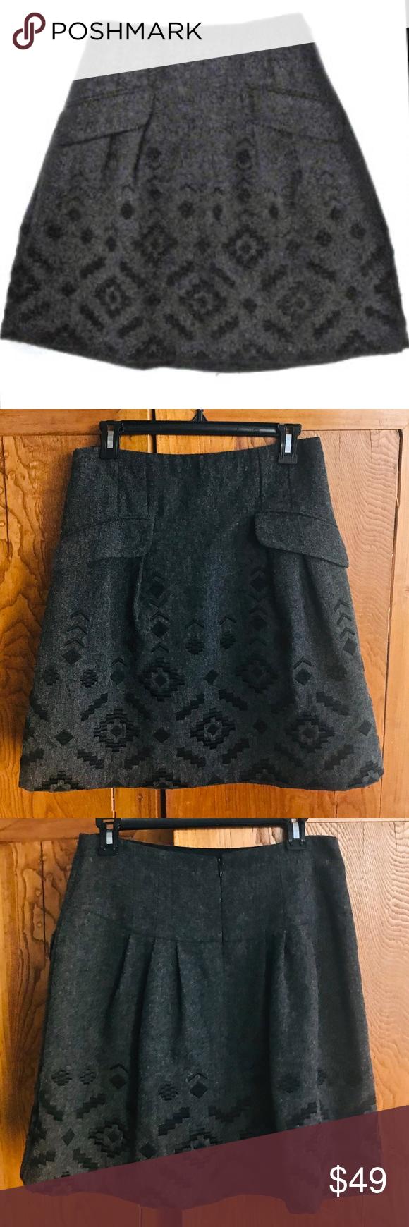8a94430d6 Nanette Lepore Wool Mini Skirt - Size 8 Adorable Nanette Lepore skirt grey  wool with black