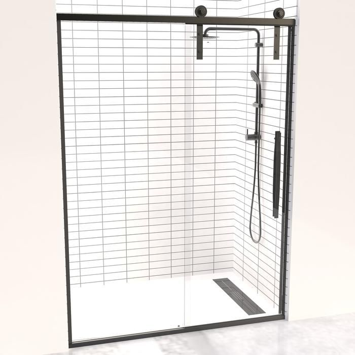 Gridscape Eclipse Black Trim Sliding Shower Door With Barn Door Rollers And Frameless Glass Shower Doors Framed Shower Framed Shower Door