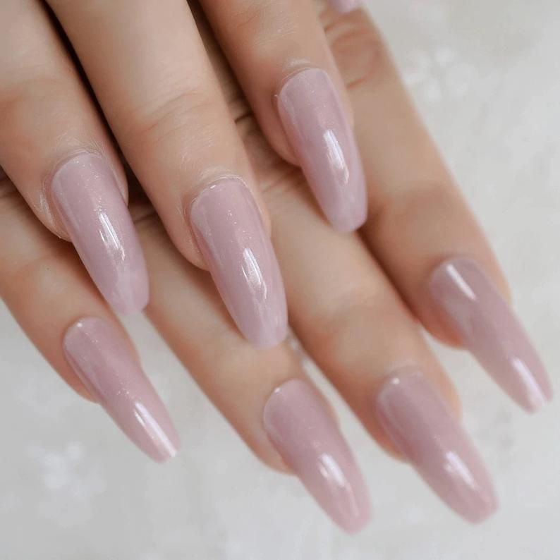 RosyBrown Long Daily False Nail Coffin Flat Soild Color Natural Full Cover Fingernails Pearlescent
