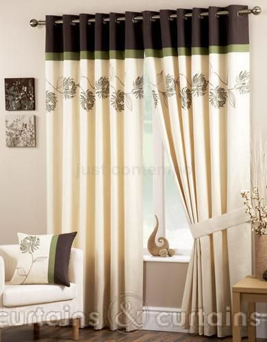 Petunia Green Chocolate Brown Floral Eyelet Curtain Curtains Living Room Latest Curtain Designs Home Curtains