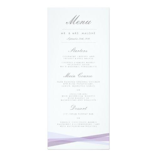 Purple Wedding Menu Abstract Ribbons Wedding Dinner Menu  Purple