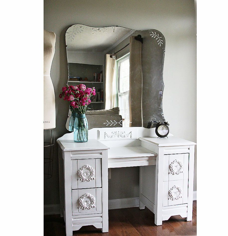 Antique Vintage Shabby Vanity Dresser With Appliques & Large Rustic Mirror