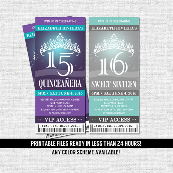 QUINCEANERA or SWEET 16 TICKET Invitations - Any Color Scheme (print