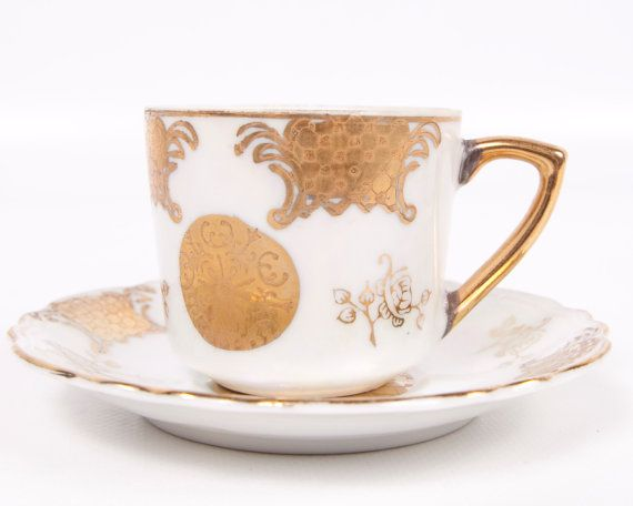 Vintage Gold  Demitasse Teacup