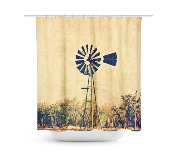 Rustic Shower Curtain Windmill Photography Country Landscape
