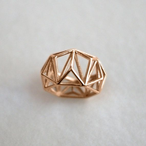 Geometric Prism Cage 3d Printed Ring 14k Rose Gold by DaniMakes