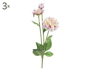 Set di 3 fiori Zinnia artificiali bianco/rosa - H 67 cm