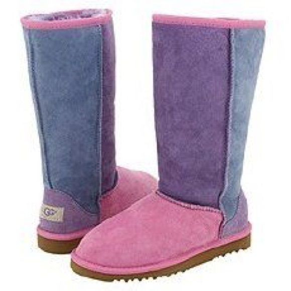 Tall Pink Purple & Blue Patchwork Uggs Worn a few times. Tall patchwork colored Uggs. Great condition. No longer being manufactured. UGG Shoes