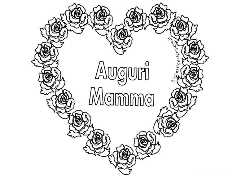 Biglietto Auguri Festa Della Mamma Con Rose Da Colorare
