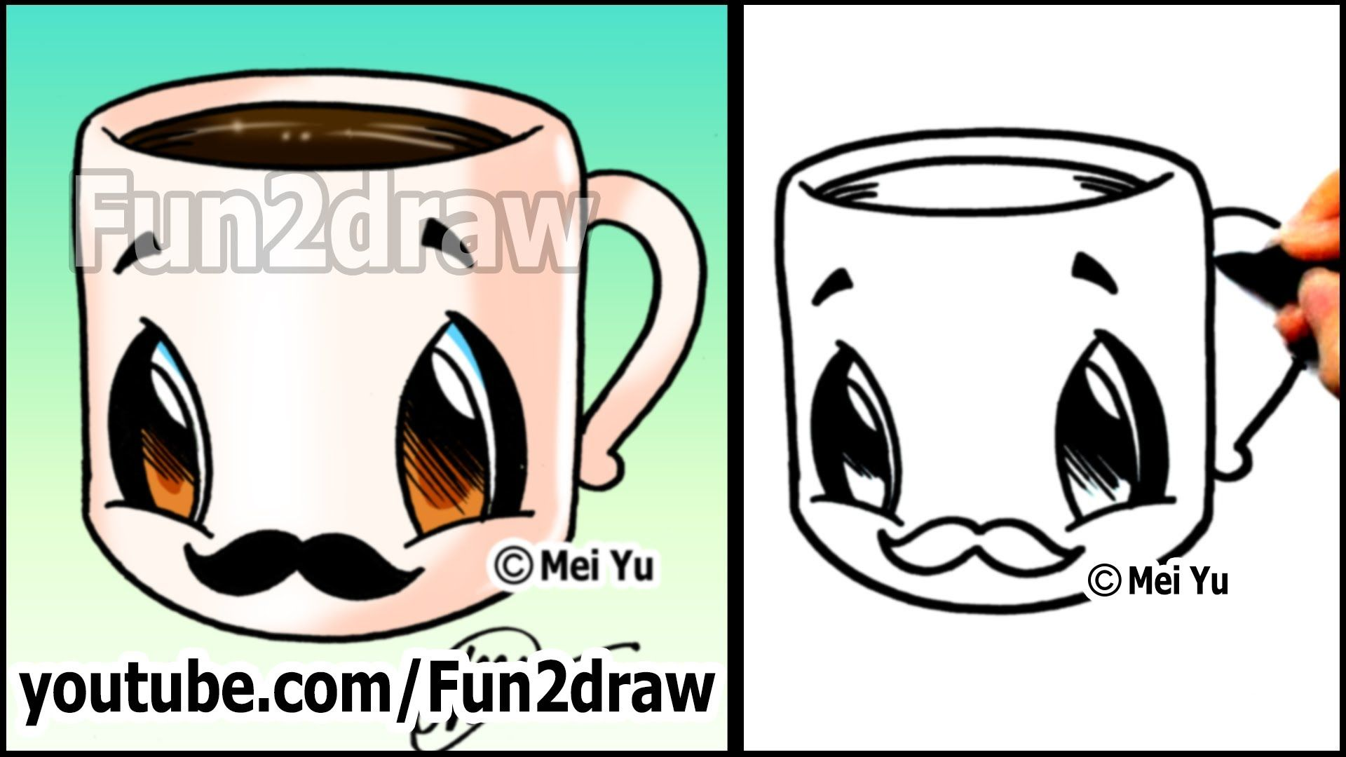 Coffee Cup With Mustache Easy Cartoon Drawing Tutorial