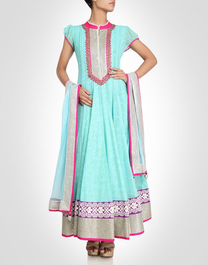 Anarkali with sequin and zari work. Available in more colours.  Shop Now: www.kimaya.in.