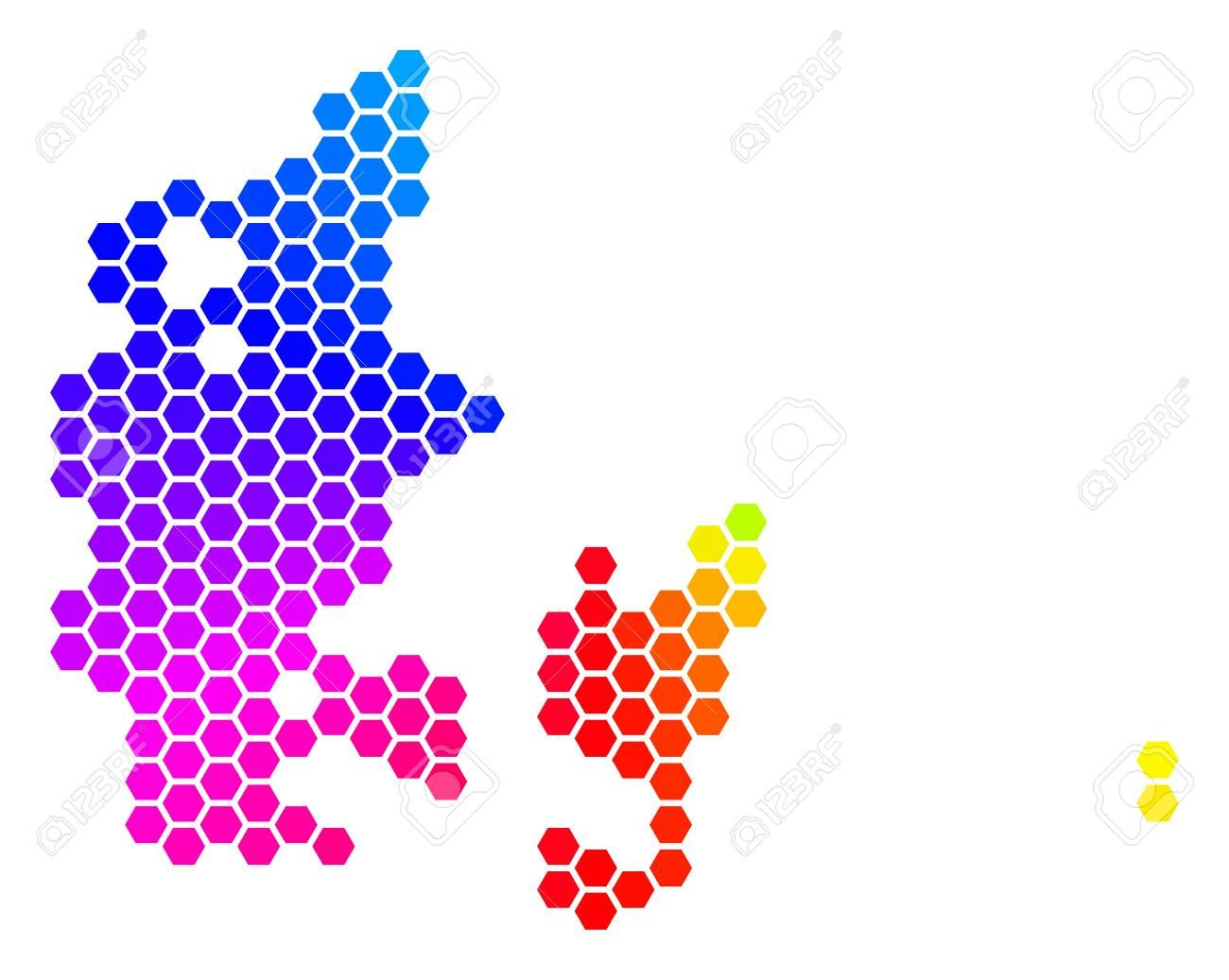 Hexagon spectrum Denmark Map. Vector geographic map in ...