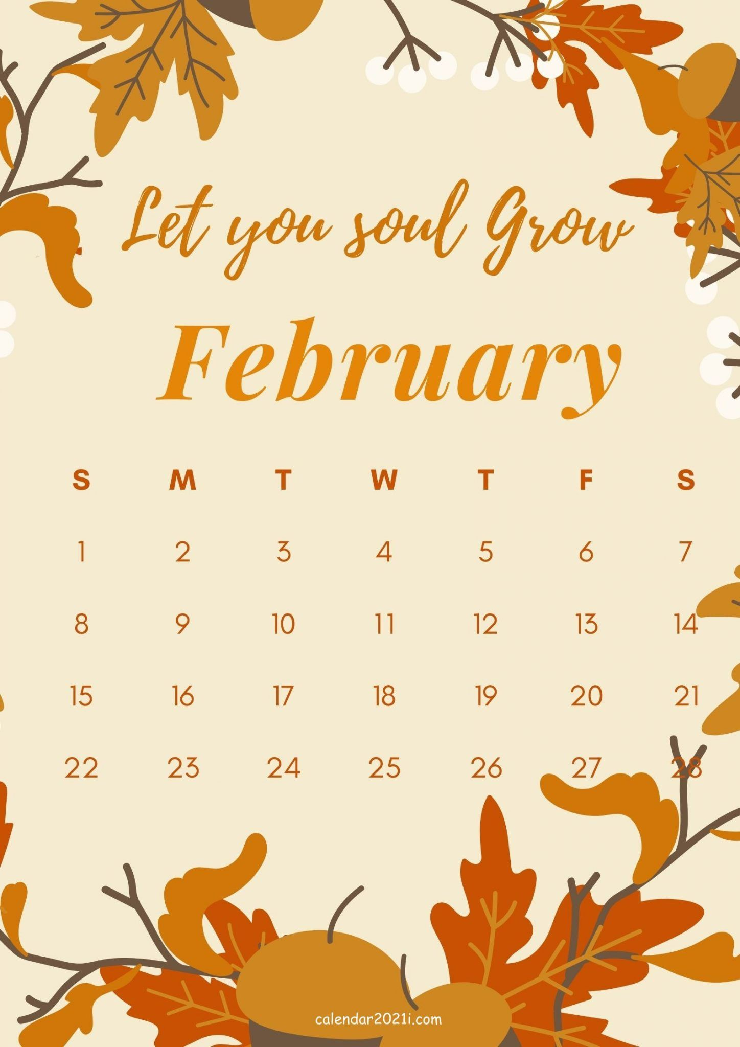 February 2021 Motivational Quote Calendar Monthly