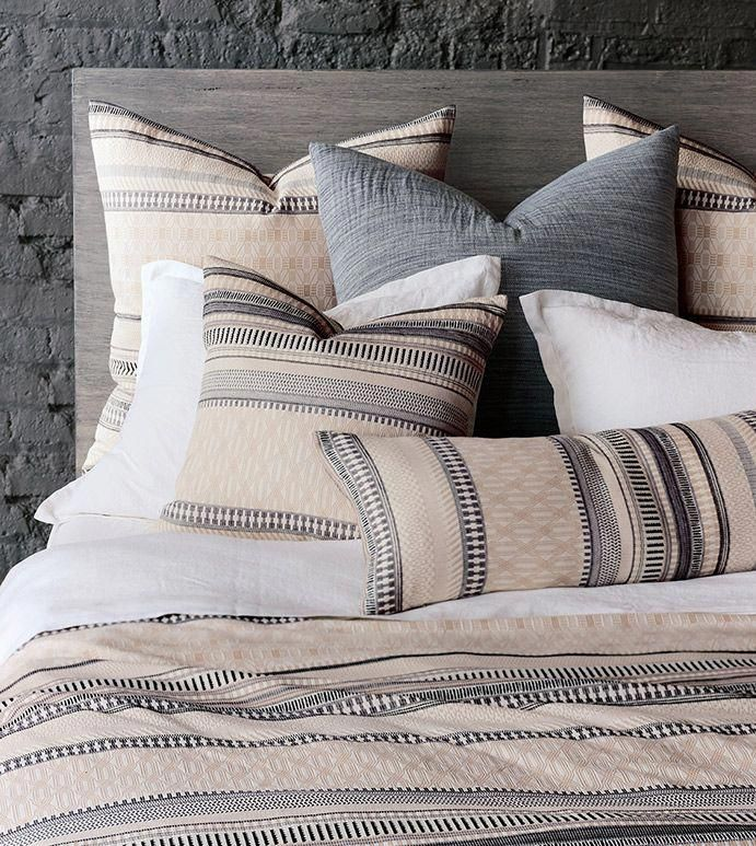 Enjoy a cozy, laidback bedding collection that doesn' t skimp on style. Adorned with a classic multidirectional striped pattern in a versatile two-tone, Willow is a homey bedroom addition in textural 100% cotton matelasse. Its fine European-woven fabric is completely machine-washable for added ease of care.  #bedding #modern #decor #home #bed #bedroom #sheets #duvet #pillow #interior #design #luxury #madeinAmerica #bedset #homedecor #blanket #print #coverl #bedroomaddition