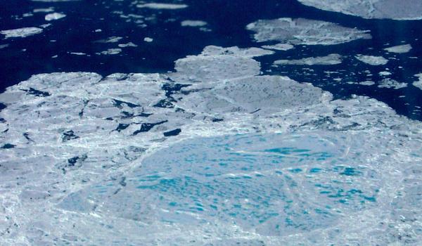 Sea ice melt ponds due to climate change (NASA)