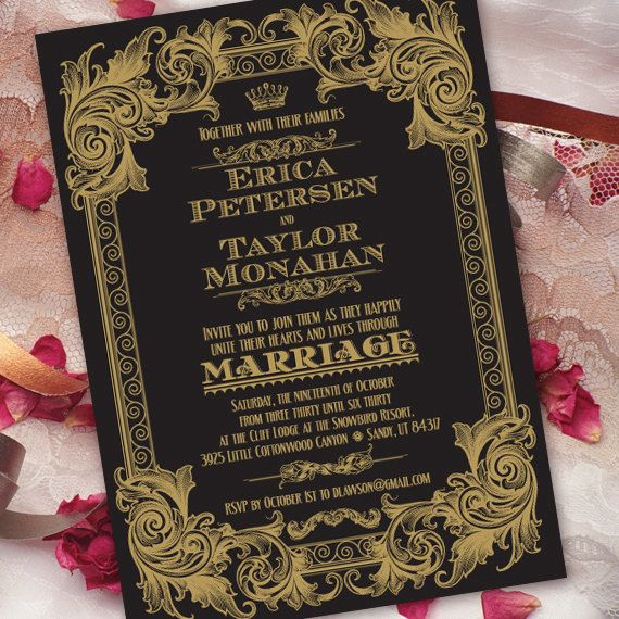 Wedding Invitations With Rsvp Black And Gold Wedding Invitation