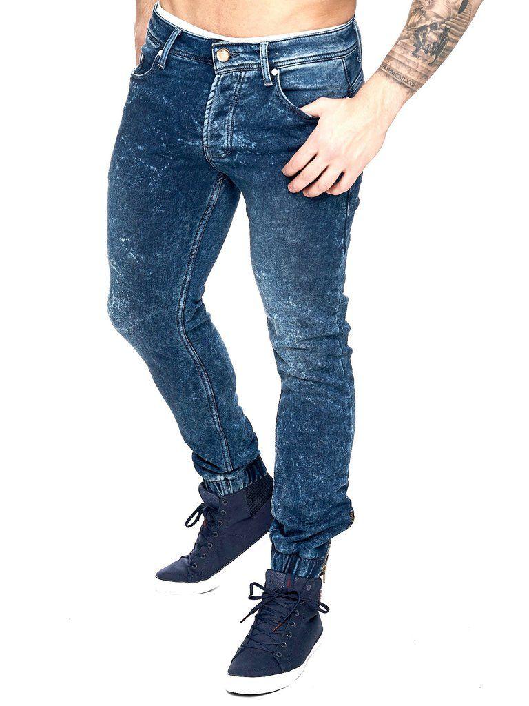 F&S Men Slim Fit Biker Jogger Jeans - Washed Blue   Urban street art and  Street art