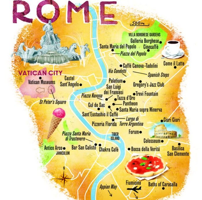 Map of Rome with major Places + Sights World In Four Days A Travel ...