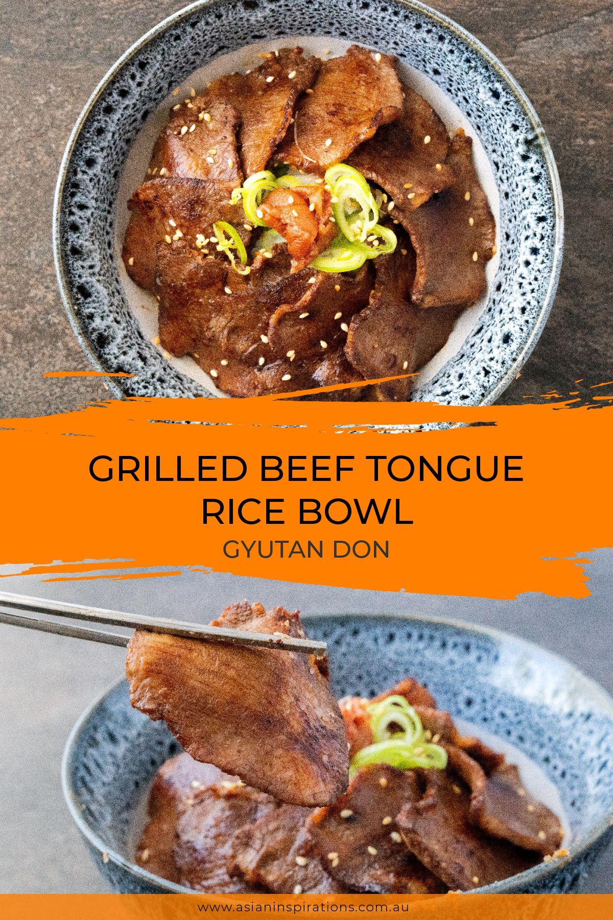 Grilled Beef Tongue Rice Bowl Gyutan Don Recipe Food Recipes